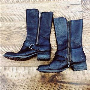 BORN Aubra Black Leather Buckle Harness Boot 8.5